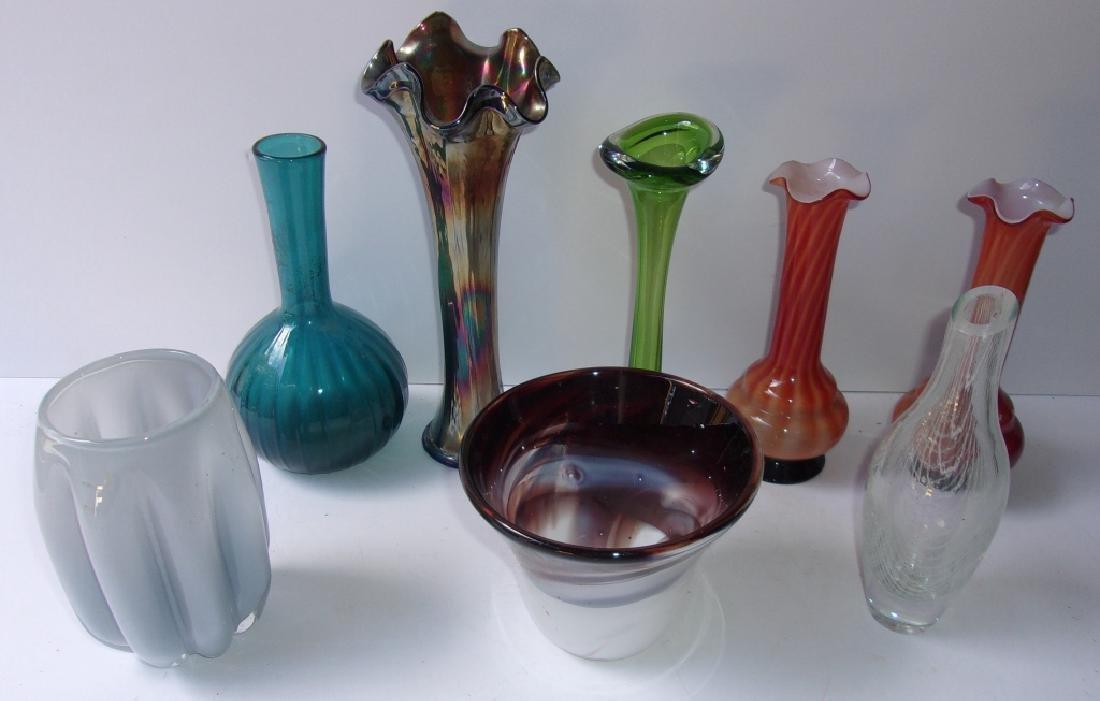 8 mid-century art glass vases