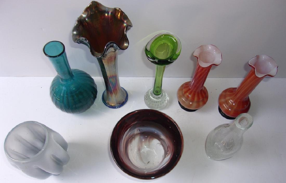 8 mid-century art glass vases - 2