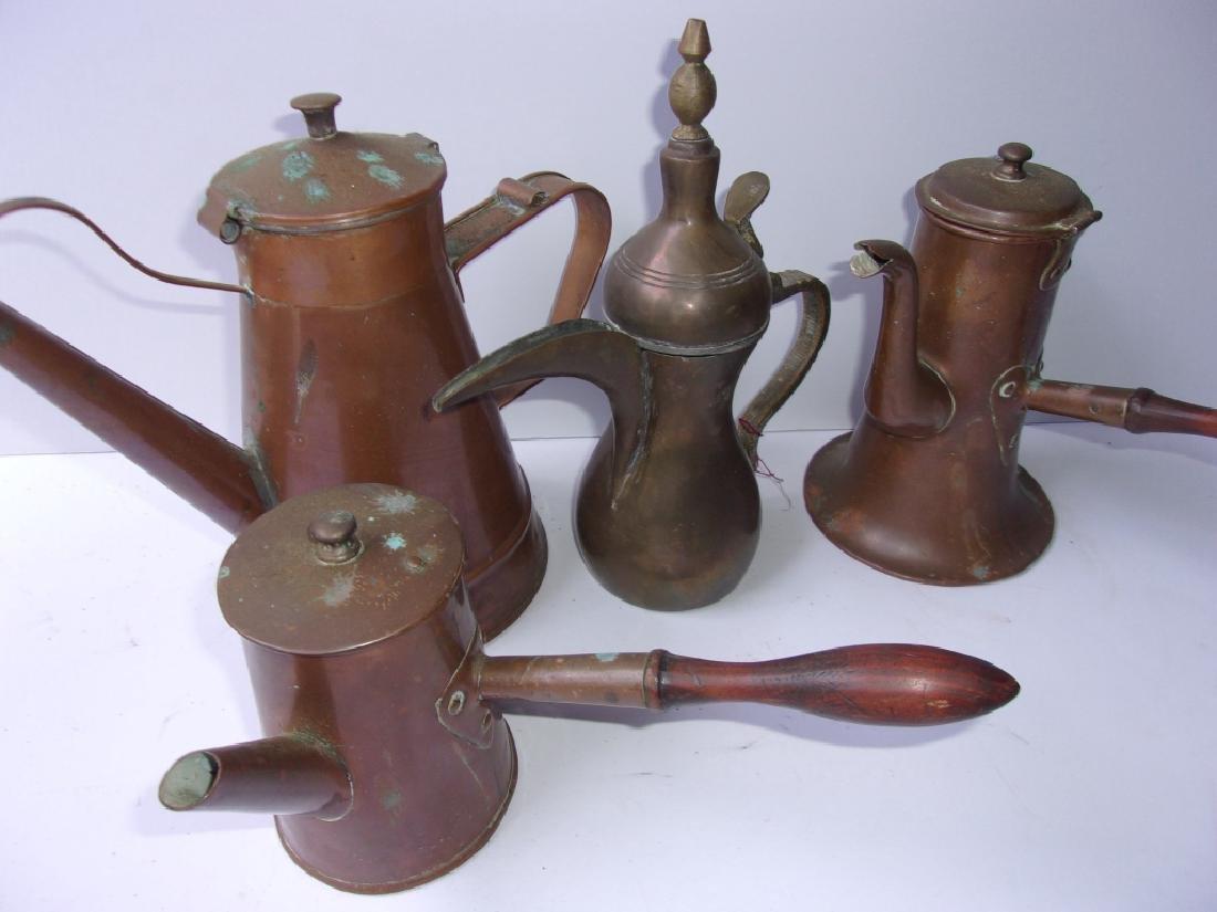 4 19th century copper cider pots