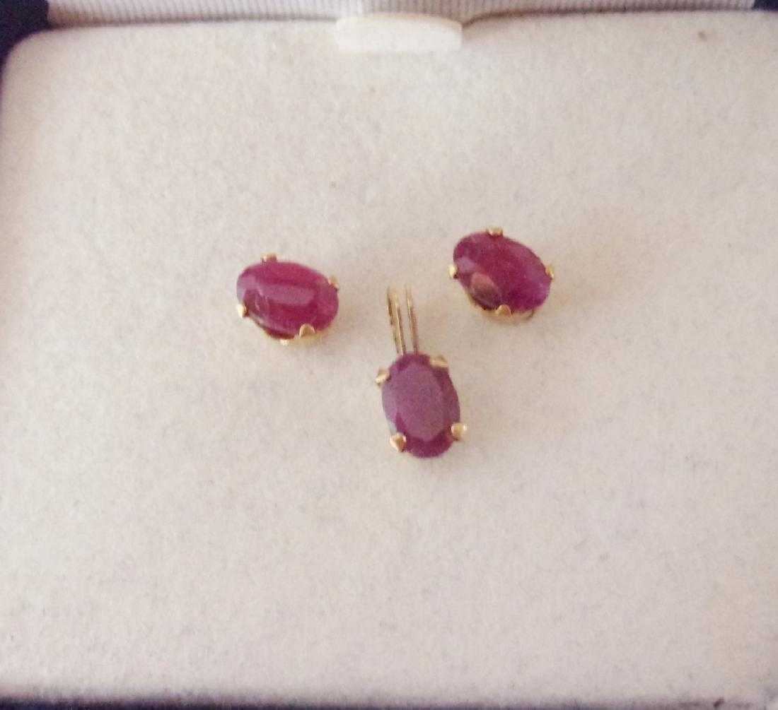 14k Ruby earrings and pendant
