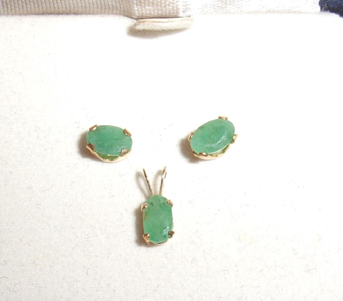14k emerald earrings and pendant