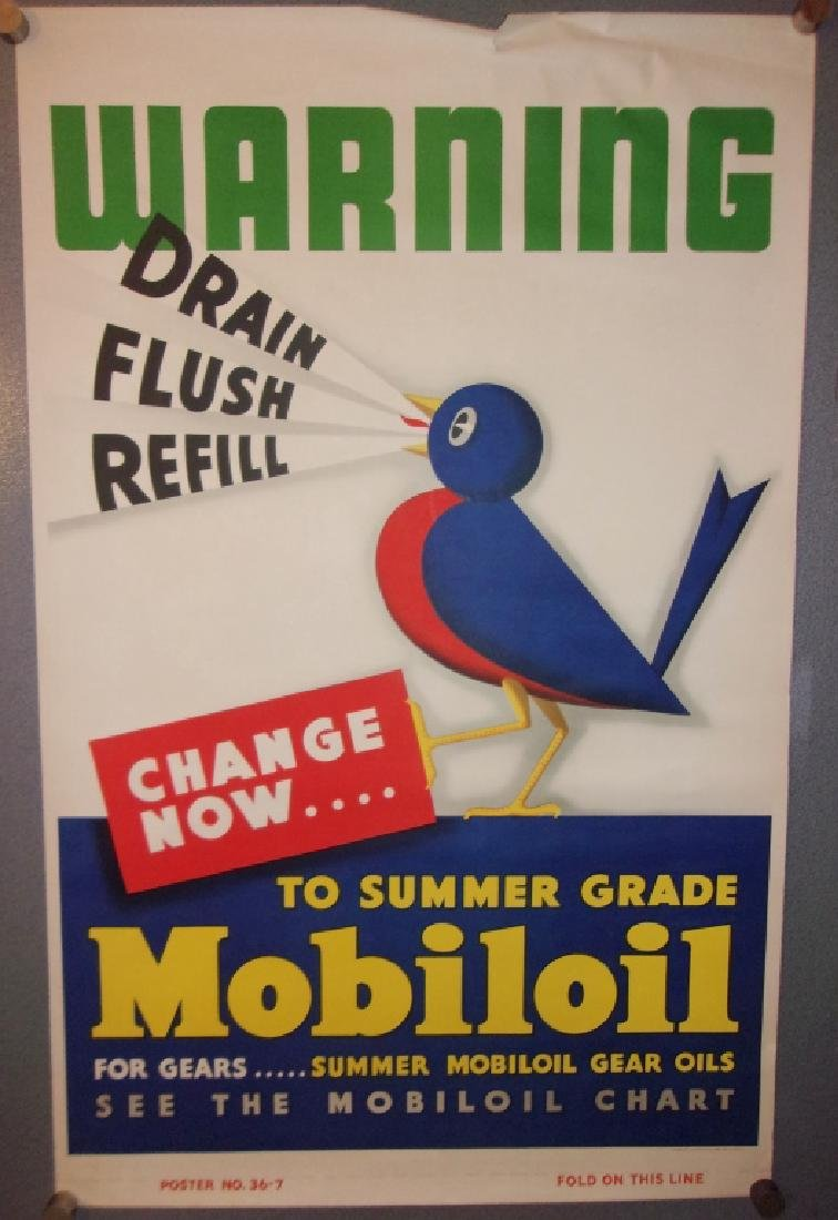1950s Mobil oil advertising poster