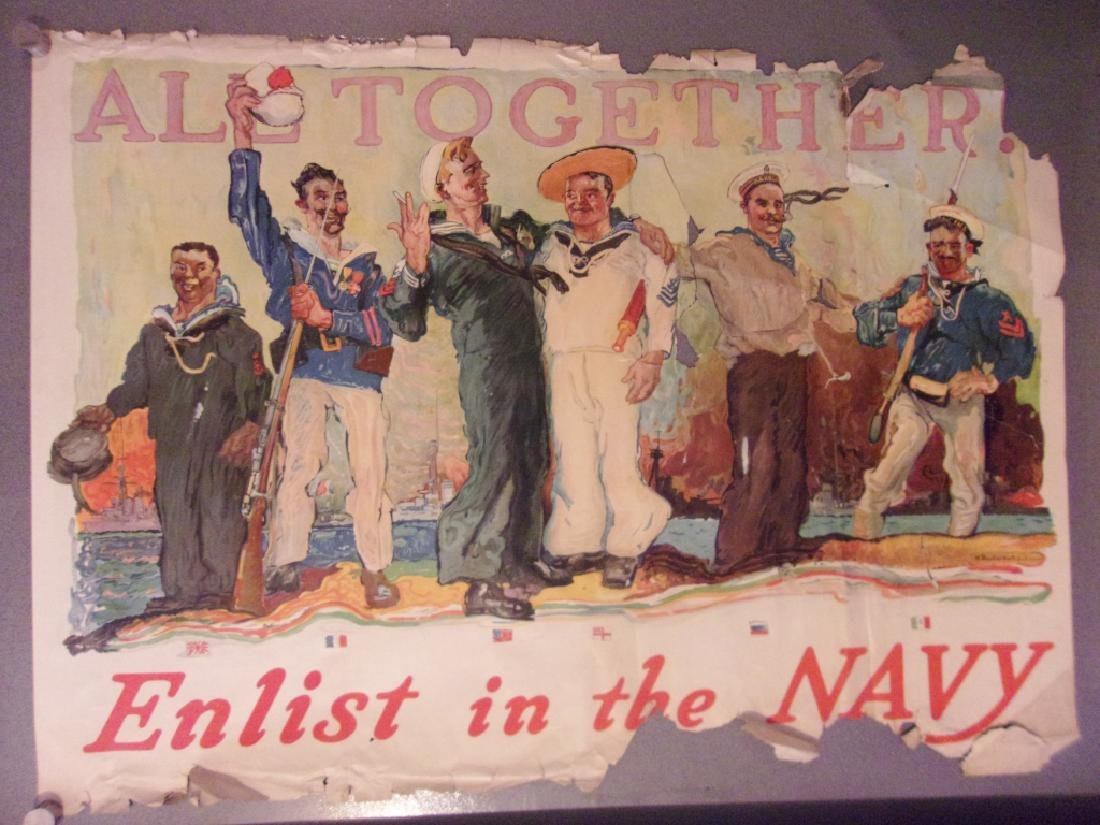 """WWI """"All together. Enlist in the Navy""""poster 1917"""