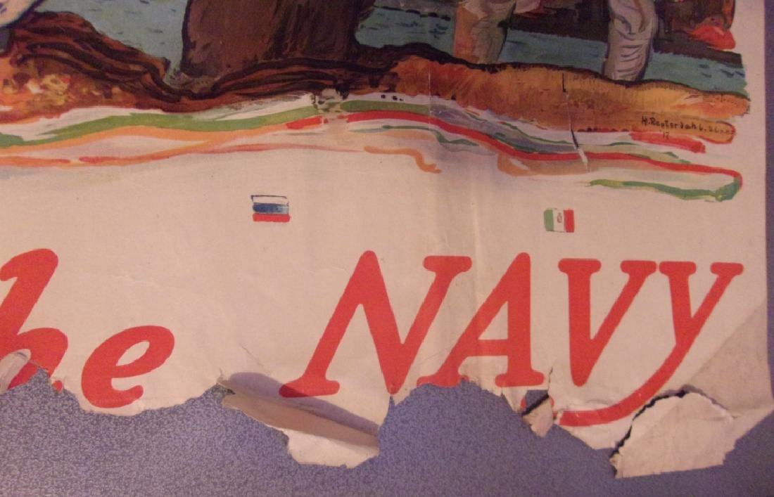 """WWI """"All together. Enlist in the Navy""""poster 1917 - 6"""
