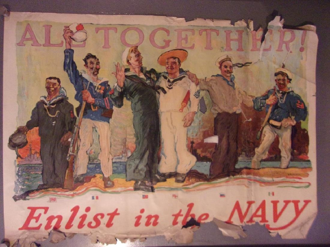 "WWI ""All together. Enlist in the Navy""poster 1917"