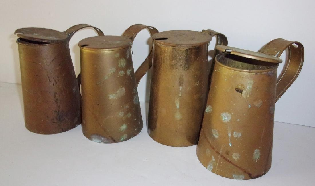 5 19th-century brass mulled cider tankards