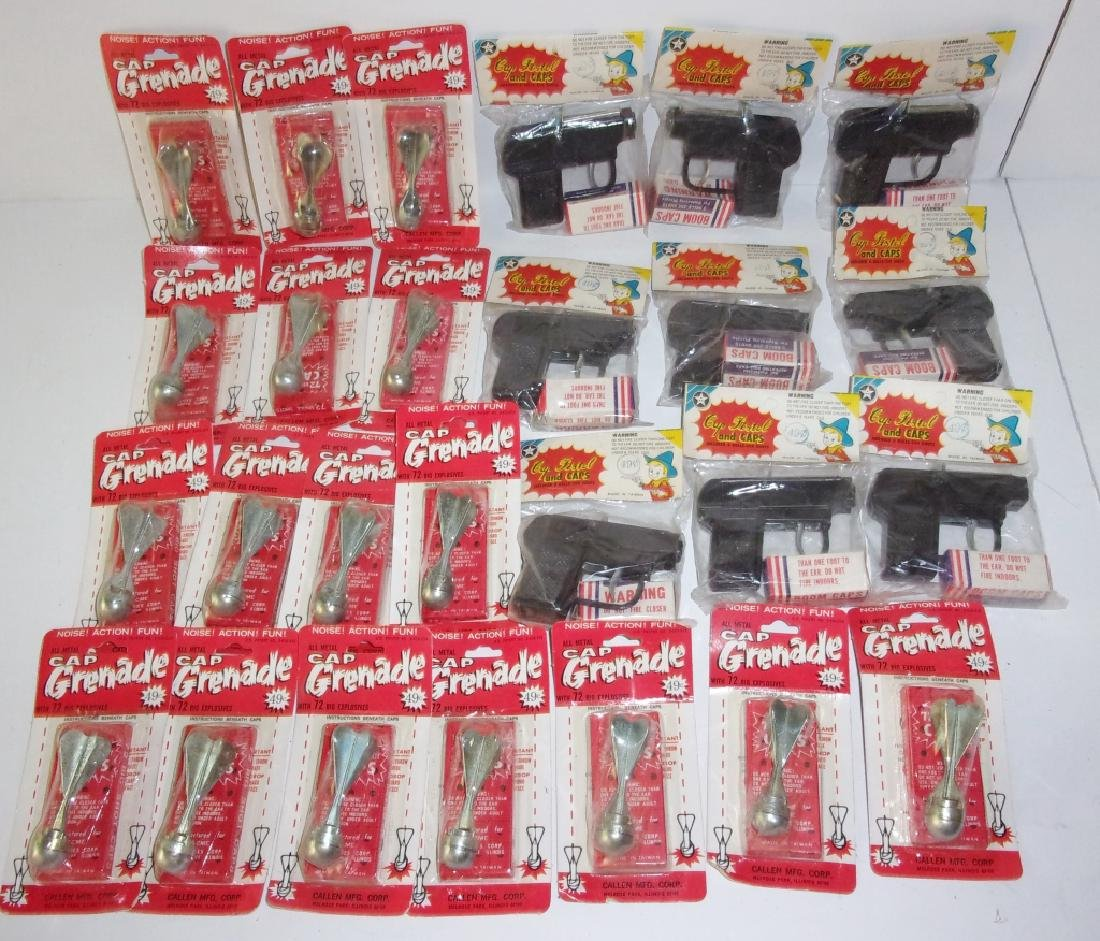 26 piece toy Gun pistol and caps and Grenades