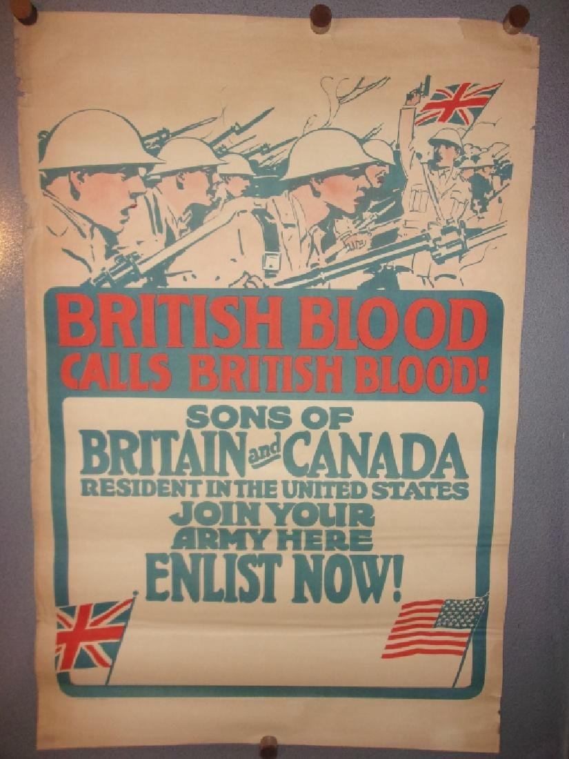 WWI Britain and Canada join your army poster