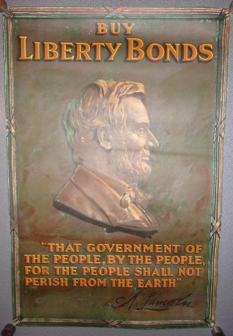 "WWI ""Buy liberty bonds"" poster Lincoln portrait"