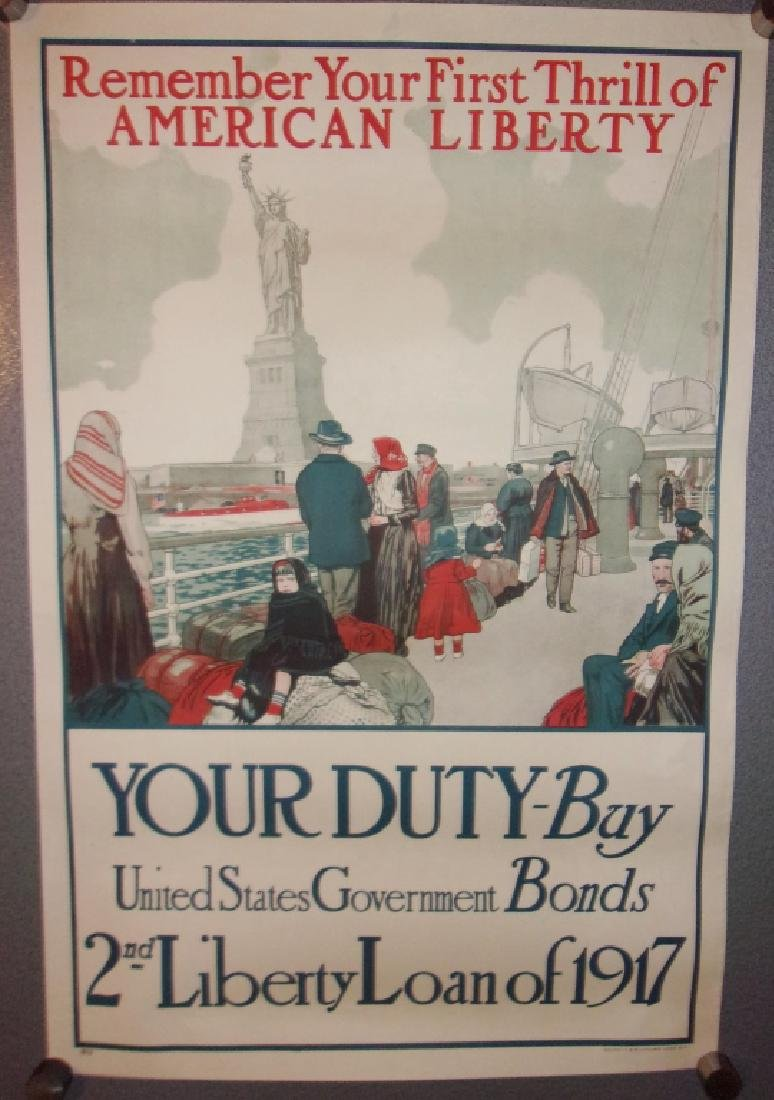 WWI 2nd liberty loan US government bonds poster