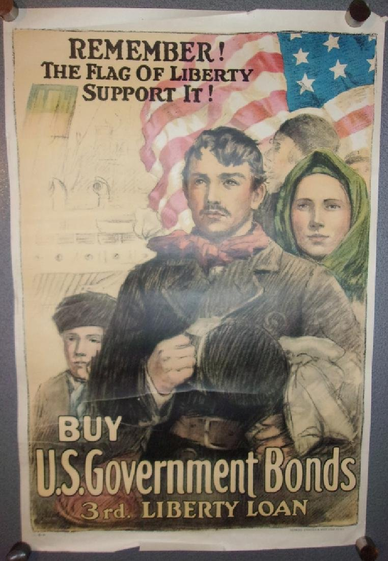 WWI US government bonds 3rd liberty loan poster