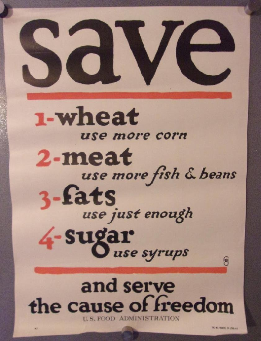 """WWI """"Save and serve the cause of freedom"""" poster"""