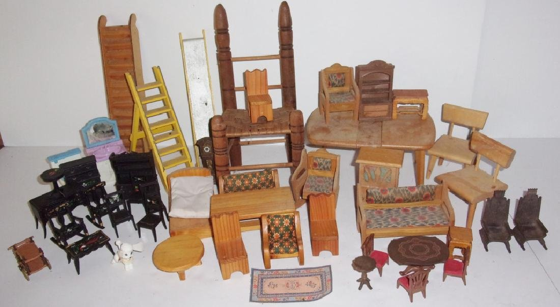 collection of assorted vintage dollhouse furniture