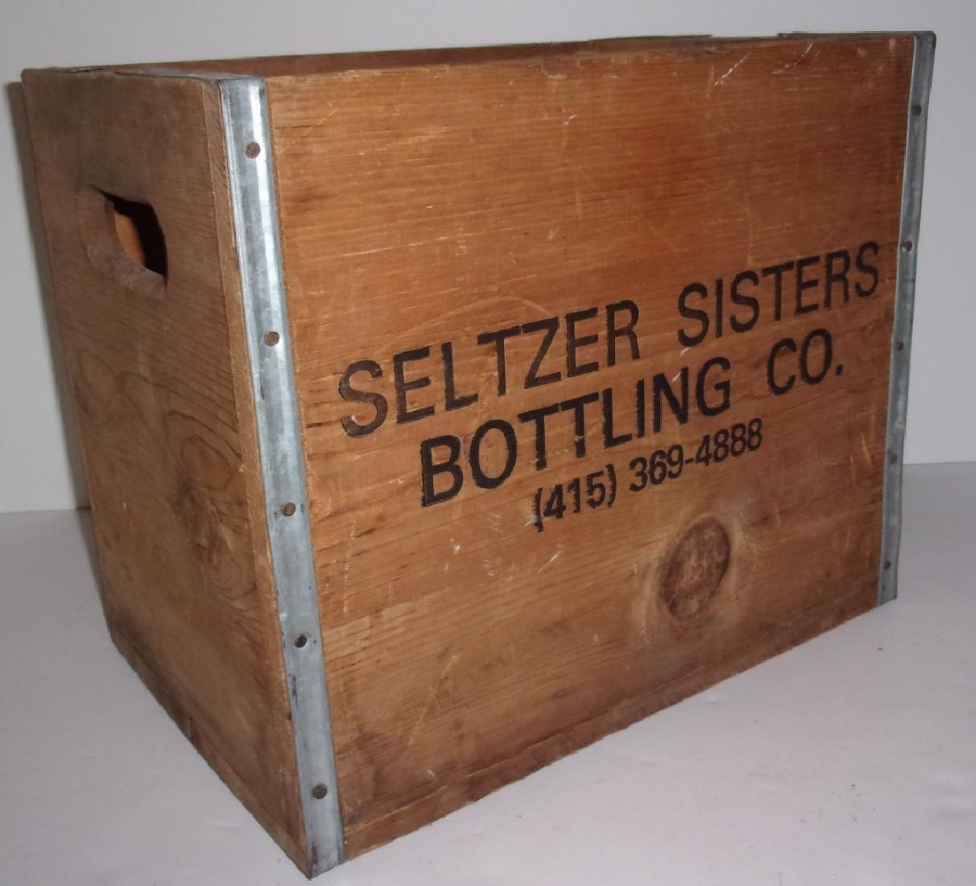 6  SELTZER BOTTLES & WOOD CRATE - 4