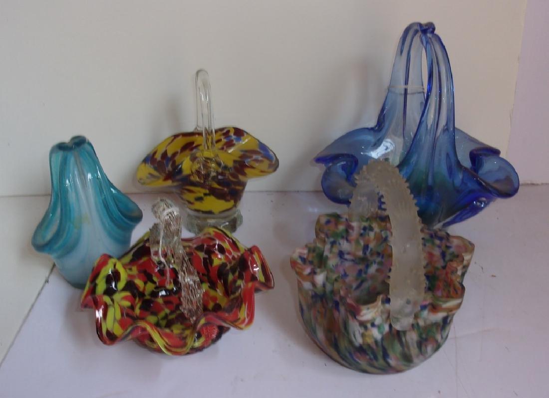 5 vintage art glass baskets
