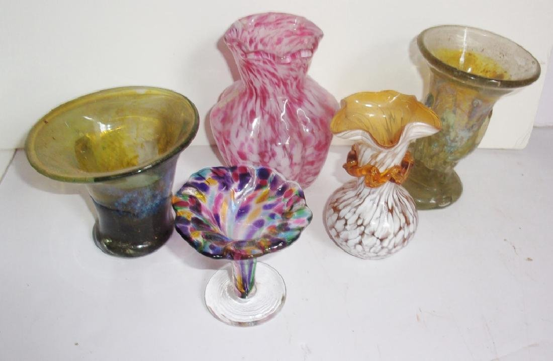 5 vintage art glass vases