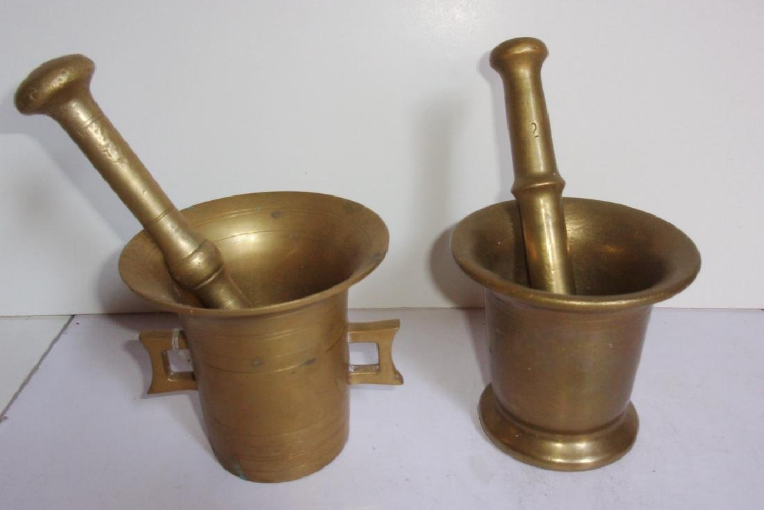 2 antique brass mortar and pestles