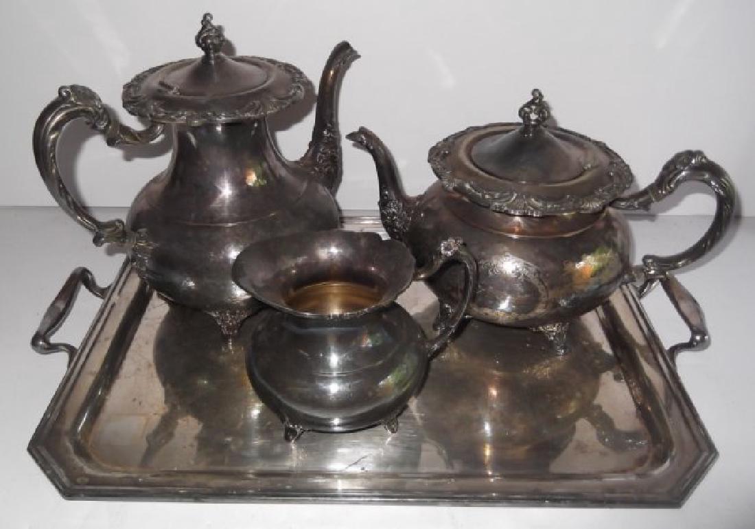 4 piece silver plate tea set & serving tray