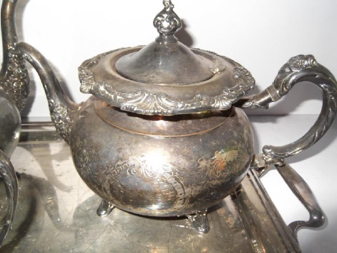 4 piece silver plate tea set & serving tray - 3