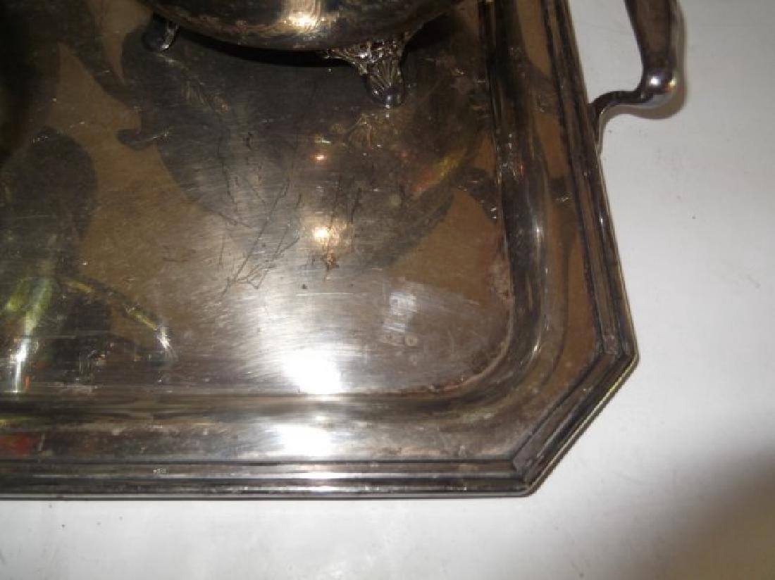 4 piece silver plate tea set & serving tray - 5
