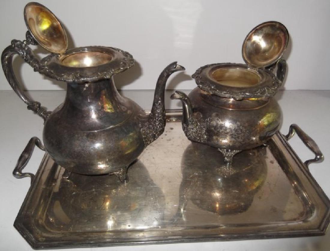 4 piece silver plate tea set & serving tray - 9