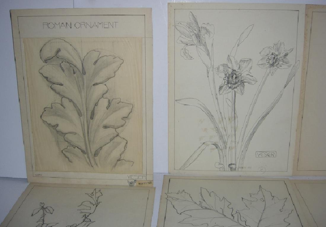 12 1930's original floral illustration drawings - 6