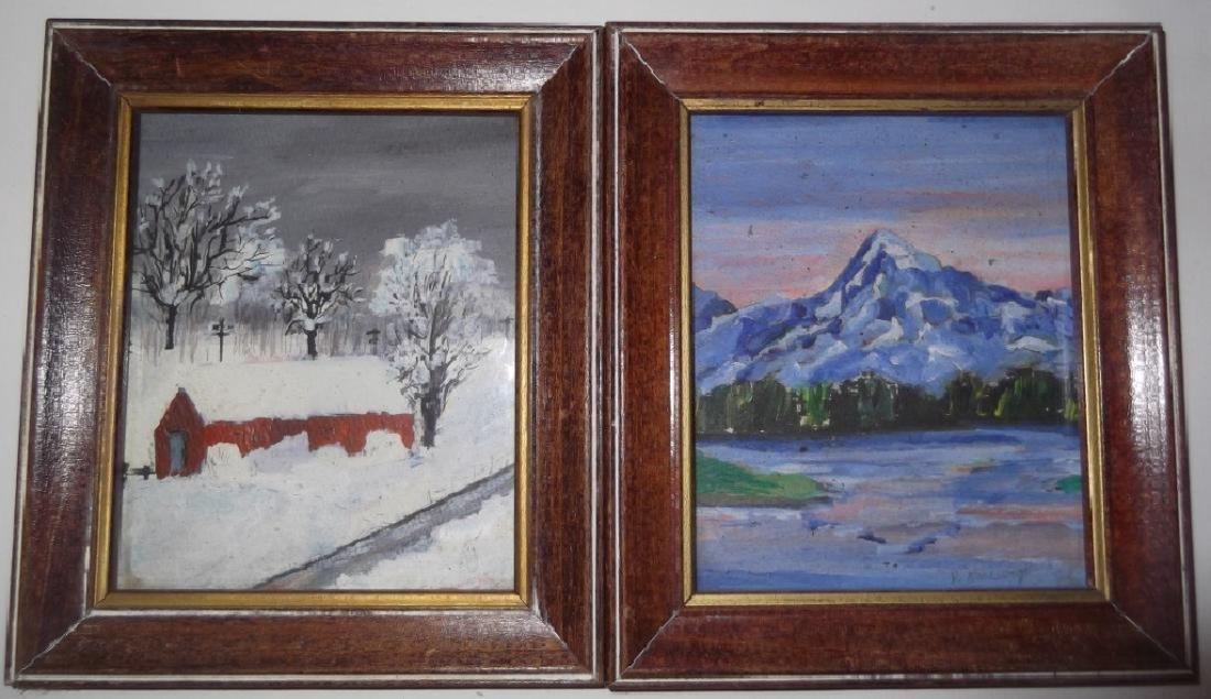 4 small landscape oil paintings - 3
