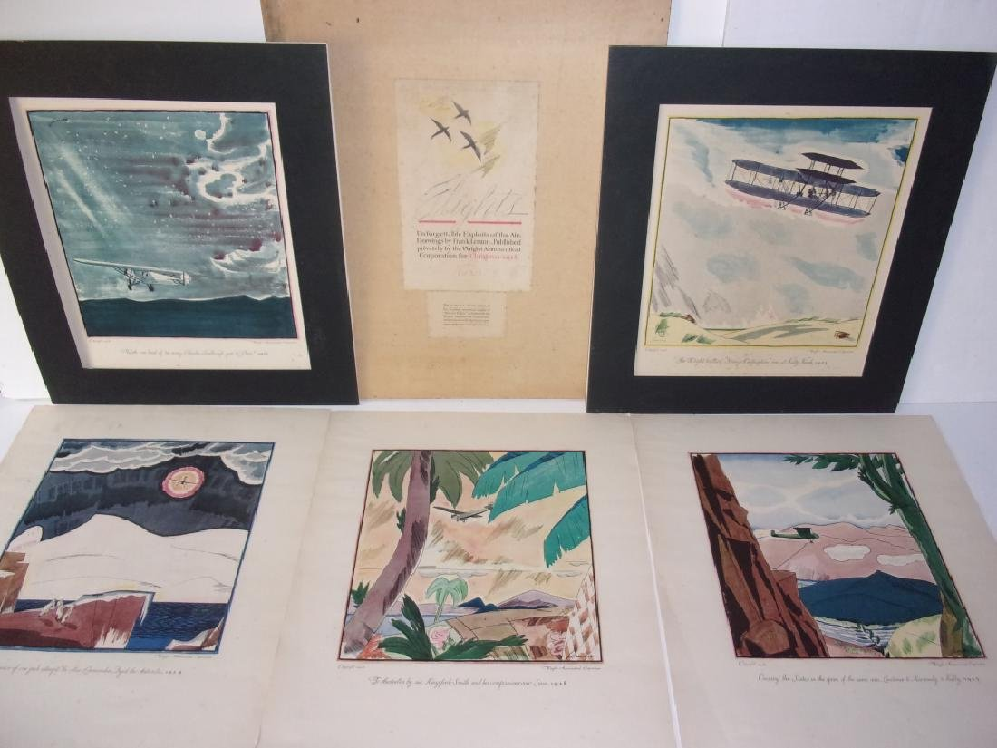 "6 ""Flights"" prints by Frank Lemon"