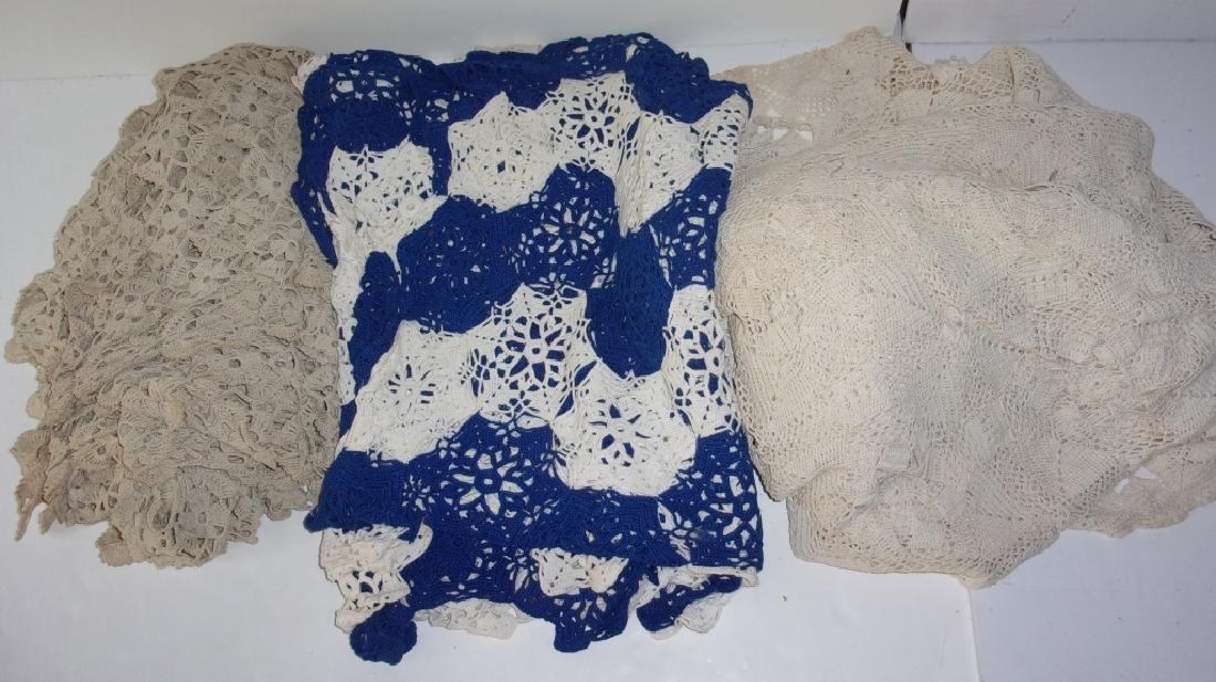 3 crochet table cloths