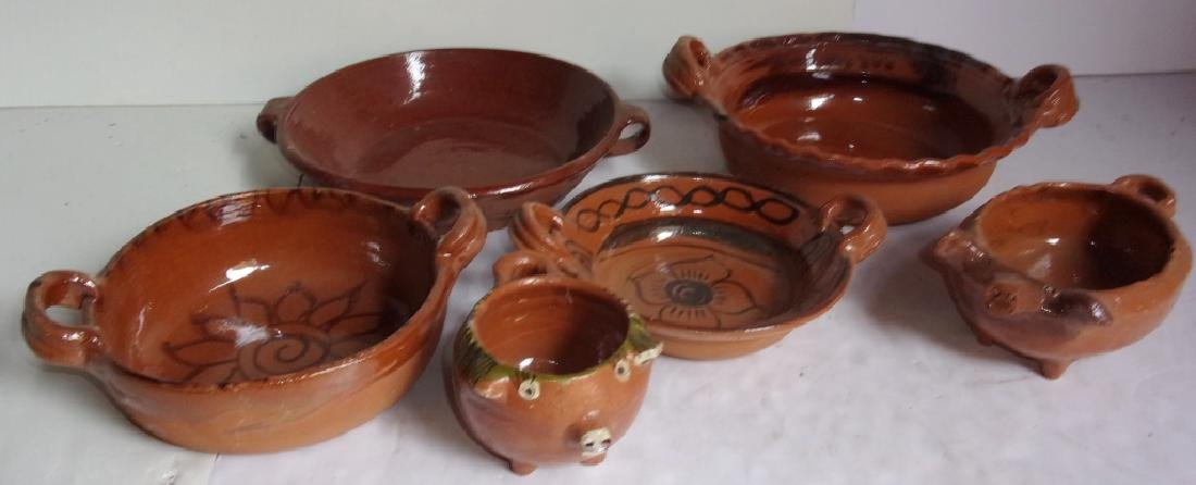 6 piece vintage pottery lot bowls