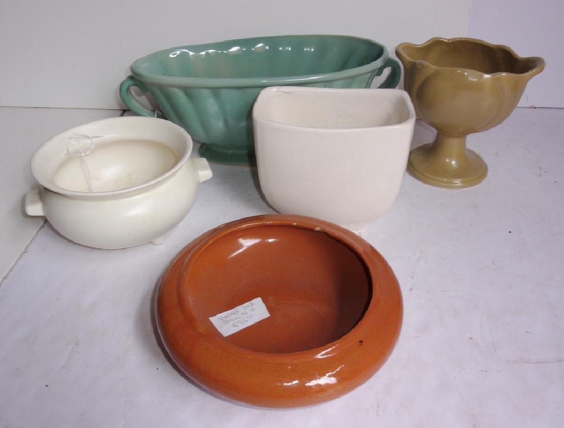 5 mid-century pottery planters