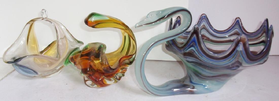 3 piece art glass lot