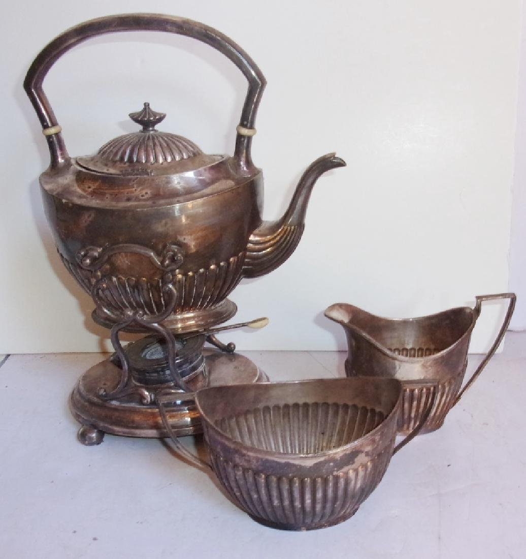 vintage silver plate teapot, sugar, creamer
