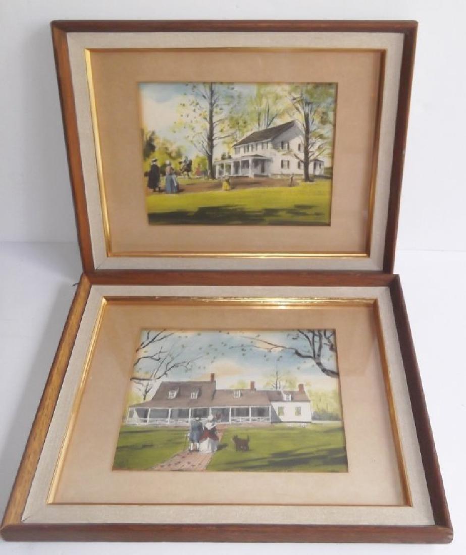2 house scene watercolors