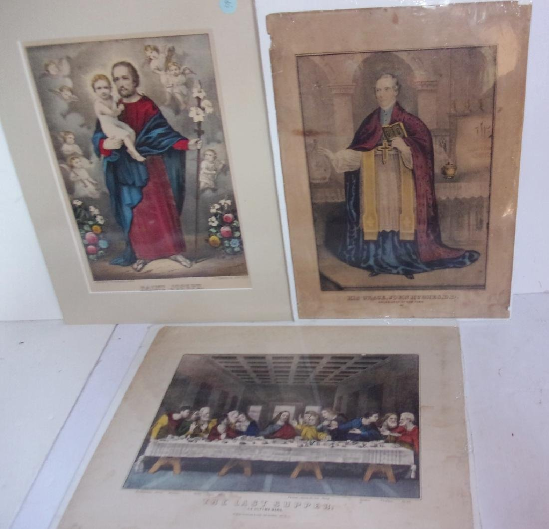 3 hand colored etchings/engravings