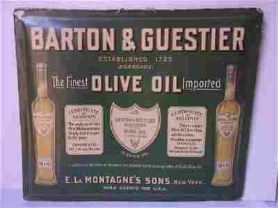 C.1910 antique Barton and Guestier olive oil sign