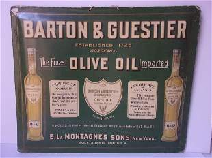 C1910 antique Barton and Guestier olive oil sign