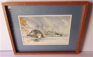 Watercolor View of New York City signed K Timbers