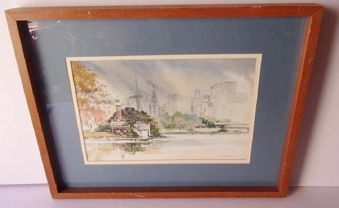 Watercolor View of New York City signed K. Timbers