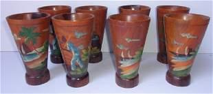 8 handpainted wood Caribbean cups