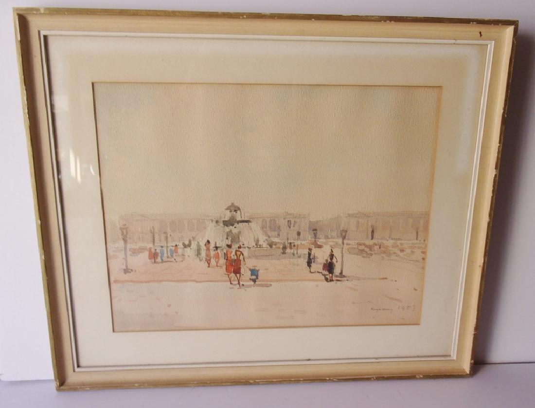 London scene Watercolor signed illegible