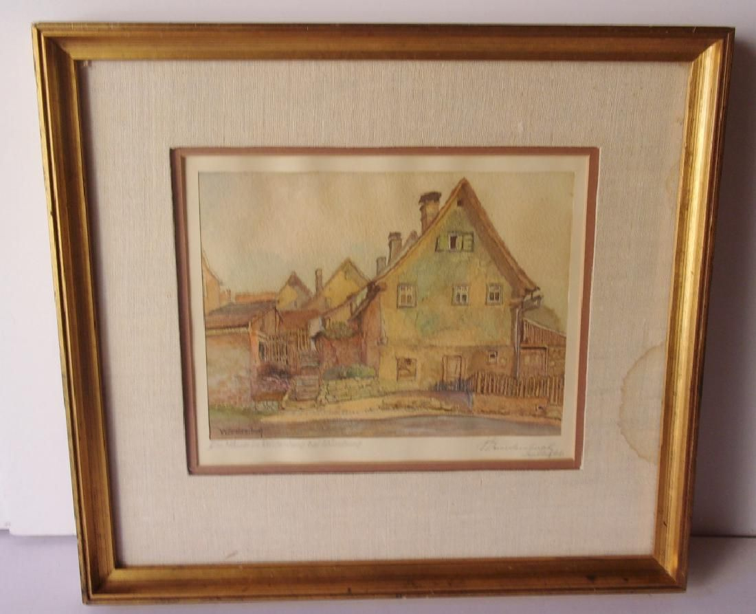 Village scene watercolor signed illegible