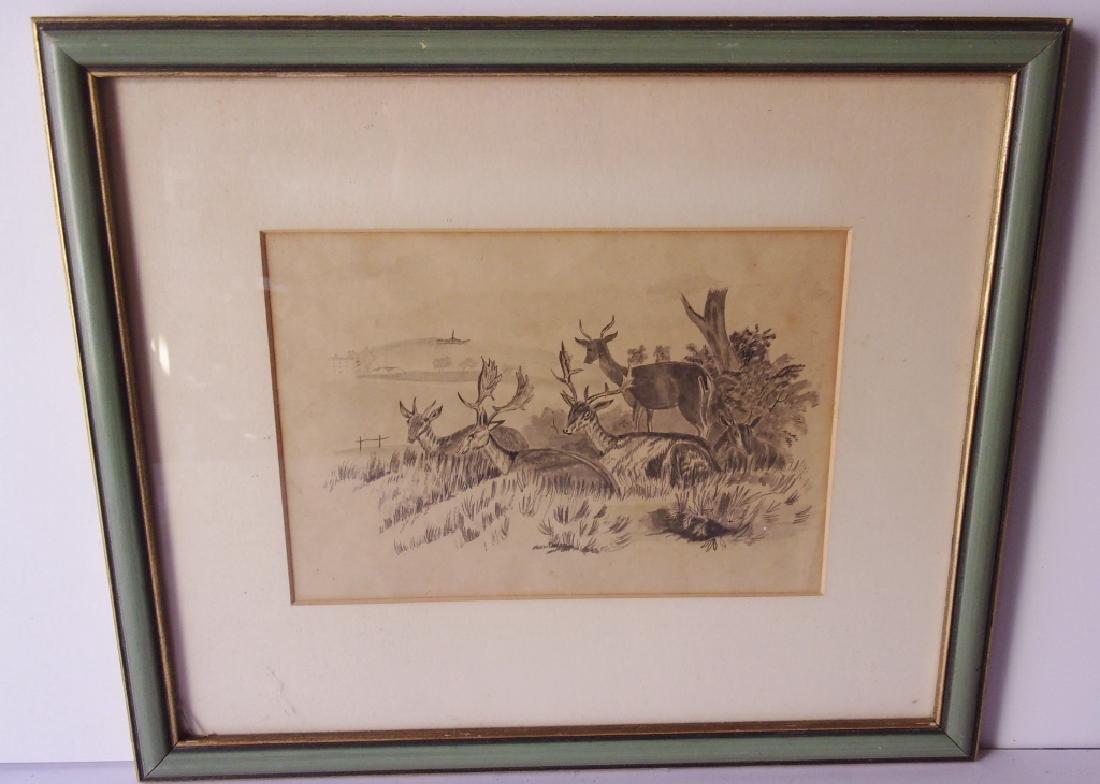 original pencil drawing of deer in field
