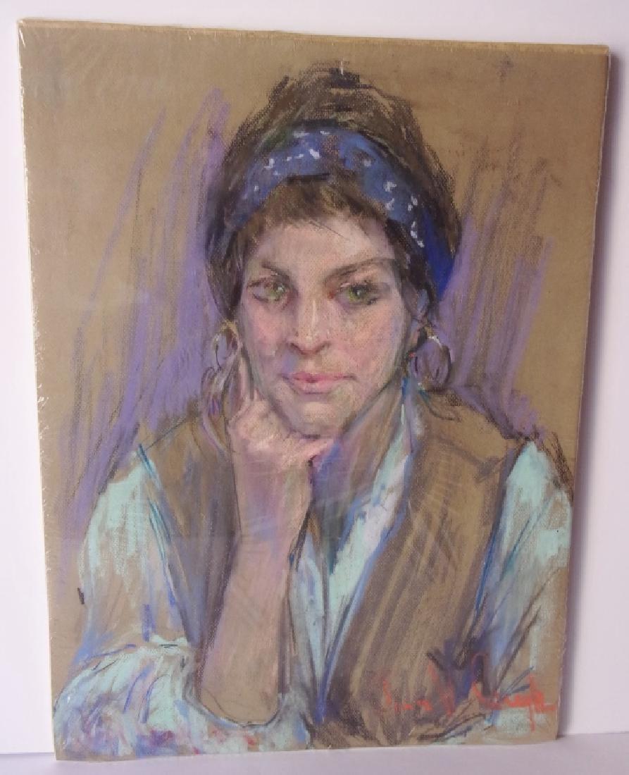 Pastel  portrait of a woman signed illegible