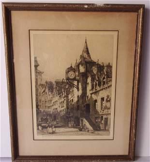 Vintage etchingengraving European city scene