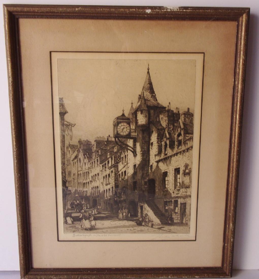 Vintage etching/engraving European city scene