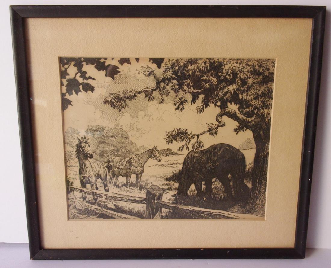 Original vintage ink drawing of horses, unsigned.
