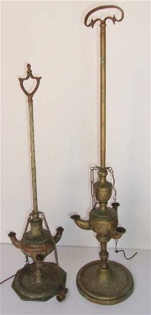 2 antiquevintage Mid Eastern Turkish oil lamps