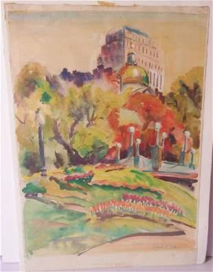 vintage watercolor central Park scene signed
