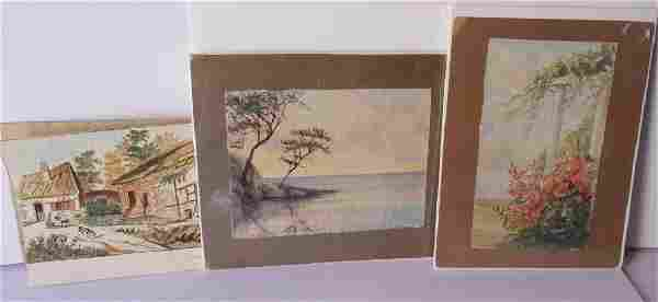 3 vintage signed watercolors